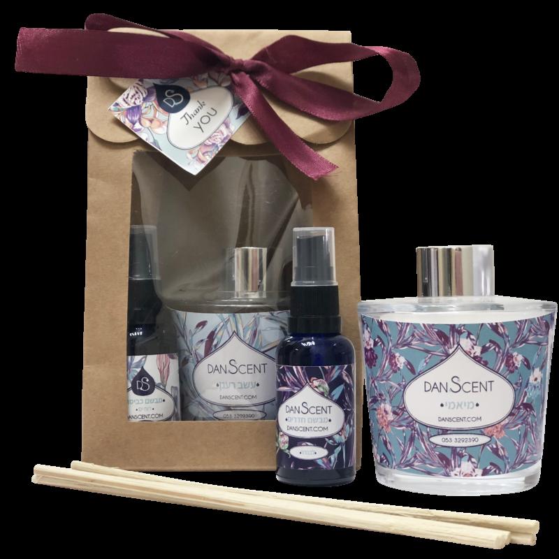 מארז מתנה מפיץ ריח מקלות 230 מל מבשם חדרים או כביסה ומיני מבשם כביסה או חדרים 30 מל בחוץ